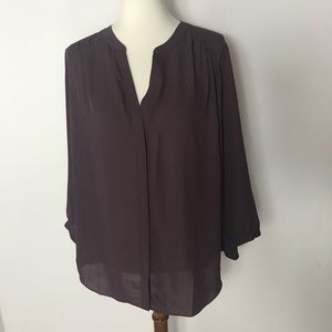 NYDJ purple Pleat crepe Pintuck Blouse